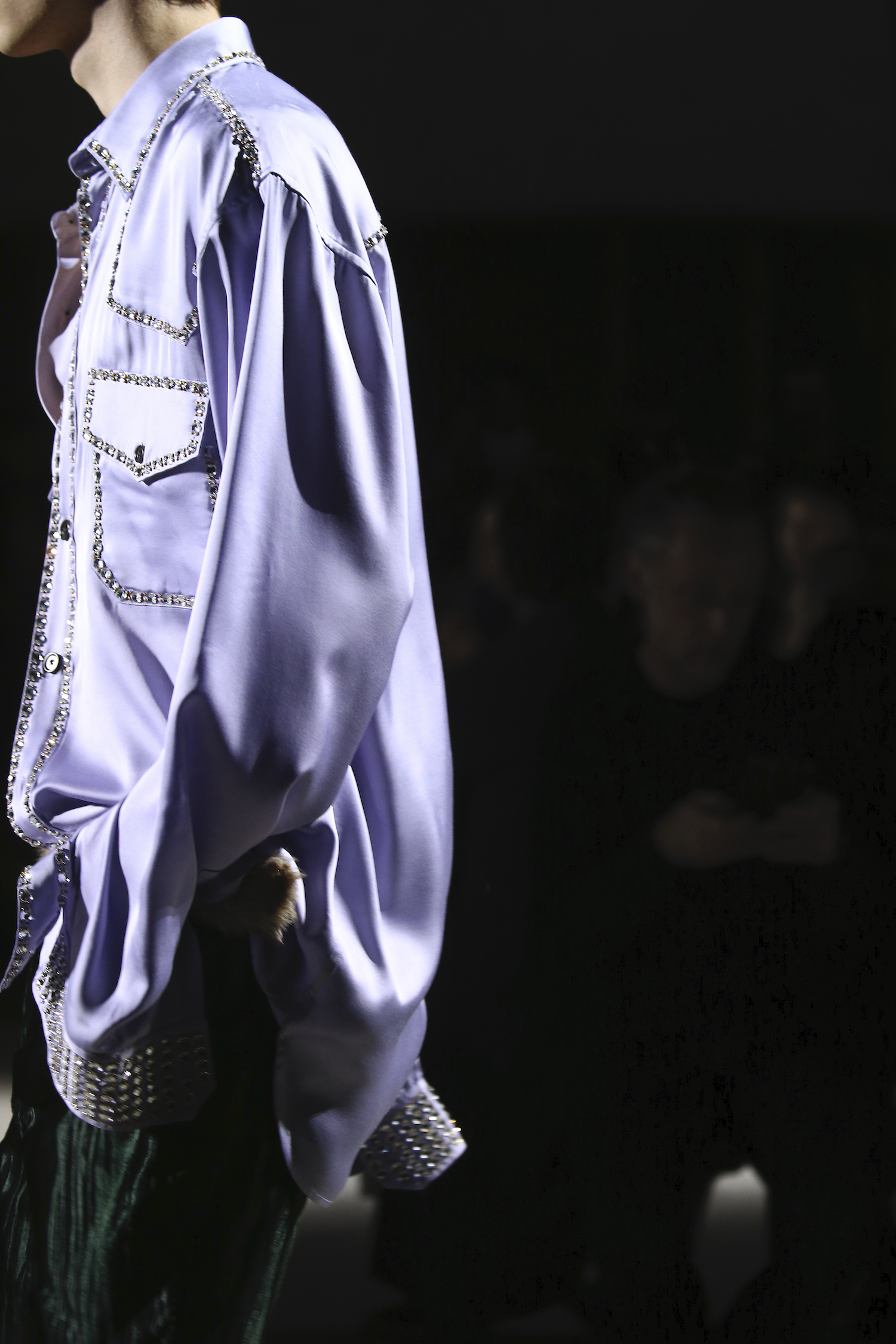 Model wears an outfit , as part of the men s wear autumn winter 2020 2021, men fashion week, Paris, France, from the house of Dries Van Noten